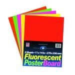 """Fluorescent Poster Board Asstd 11""""x14"""" 5 Count"""