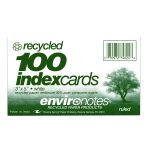 "RECYCLED INDEX CARDS 3""x5"" RULED WHT"
